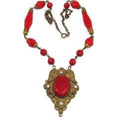 Gorgeous Signed Czech Necklace - Red Faceted Beads & Brass 1920's from brendastreasures on Ruby Lane
