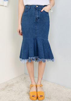 デニムマーメイドSK - 韓国ファッション通販|OLCHANG《オルチャン》