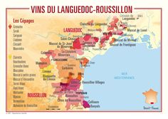"""[Carte] """"Vins du Languedoc-Roussillon (France)"""" May-2013 by Winefolly.com"""