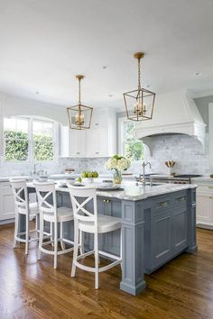 Get Small Kitchen Remodel Ideas. - Ventilation aspect in kitchen design. Most of us sometimes ignore ventilation as part of the qualities of a good kitchen design. Kitchen Island Decor, Farmhouse Kitchen Cabinets, Kitchen Cabinet Design, Kitchen Islands, Kitchen Designs, Blue Kitchen Island, Kitchen Themes, Painted Kitchen Island, Kitchen Paint