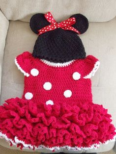 Red Minnie Mouse style dress and hat. MADE TO ORDER £30.00