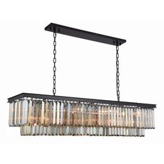 """Sydney 60"""" Crystal Island Pendant Chandelier with 12 Lights - Matte Black Finish and Smokey Crystal"""