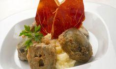 Receta de Alcachofas rebozadas con puré de patata y jamón