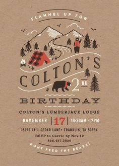 Lumber Bears Children's Birthday Party Invitations Just A Couple Of Friendly Vest And Scarf Wearing Bears Looking For A Fun Party To Crash! Brown, Orange Children Birthday Party Invitations From Minted By Independent Artist Jennifer Wick. Lumberjack Birthday Party, Bear Birthday, First Birthday Parties, First Birthdays, Birthday Ideas, Diy Birthday, Motto, Birthday Invitations Kids, Camping Party Invitations