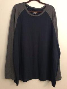 785f8ad92 Foundry Crew Neck Long Sleeve Shirt Baseball Style Navy Gray Size 3XL