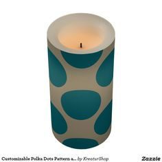 Customizable Polka Dots Pattern any Color on Latte Led Candle