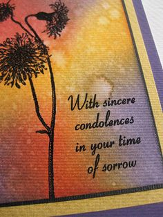 To make the card, I added some red, orange, and purple Distress Ink to a piece of white cardstock using a foam blending tool. I didn't realize that the paper had a subtle texture to it until I finished adding the colors. I then blended the colors by spritzing the paper with some gold Shimmer Spritz. After letting the paper dry completely, I embossed the new Dandelion Stem (F8714) and saying from the Sympathy Sentements clear set (CL114) with black powder. To finish the card, I added a layer…