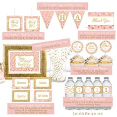 PRINTABLE Party Pack First Birthday Girl 1st Gold Glitter Pink Food Tents Banner Cupcake Topper Bottle Wraps - Big One - INSTANT DOWNLOAD on Etsy, $30.00