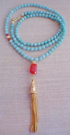 Amazonite Mala Inspired Necklace by gwensofferjewelry on Etsy, $85.00