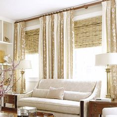 Sunshine-friendly bamboo shades complement the draperies and make a stylish alternative to heavy draperies. Great window treatment for my living room Living Room White, Living Room Windows, My Living Room, Living Room Decor, Living Room Window Treatments, Large Window Treatments, Bedroom Windows, Decor Room, Small Living