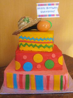 fiesta cake - follow link to see matching invite and favor labels