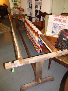 antique quilt frame 8 ft long primitive wood wooden rack great for quilting bee