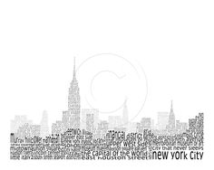 """thissss. is cool. 8""""x10"""" Matted Word Art Print - New York City Sky Line. $28.00, via Etsy."""