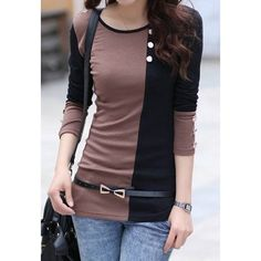 Scoop Neck Color Matching Long Sleeve Women's T-Shirt