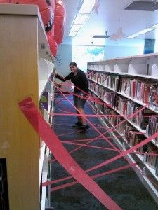 red crape paper used as red sensor lazors!  I bet it would be hilarious and awesome to try to make your way through that maze!