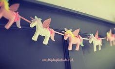 Handmade Pastel Felt & Glitter Unicorn & Stars Garland Bunting Banner | eBay