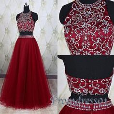 Cute halter red tulle two pieces prom dress with beautiful top details, homecoming dress 2016 #coniefox