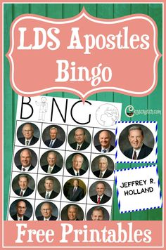 LDS Apostle Bingo- perfect for a Family Home Evening activity around General Conference
