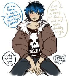 Unfortunately Nico saw Hercules too many times. And dying his hair blue wasn't the best idea xD I bet that his dad did a facepalm when he saw his little son and cursed the filmmakers for making his. Percy Jackson Books, Percy Jackson Fandom, Son Of Hades, Rick Riordan Series, Wise Girl, Fandom Memes, Solangelo, Uncle Rick, Heroes Of Olympus
