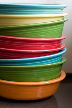 Love this Fiestaware color combo! Scarlet, Tangerine, Turquoise, Shamrock, and Sunflower.