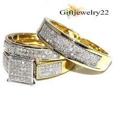 1.74 CT. 14k Yellow Gold Filled Trio Ring Set His & Her Diamond Engagement Set #giftjewelry22