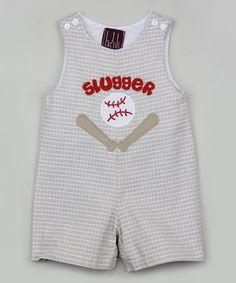Loving this Gray Plaid 'Slugger' Shortalls - Infant & Toddler on #zulily! #zulilyfinds