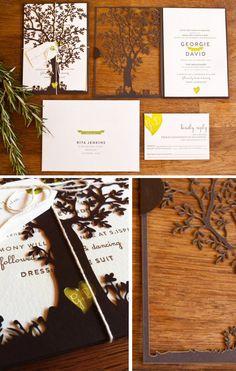 Georgie + Daveu0027s Nature Inspired Wedding Invitations