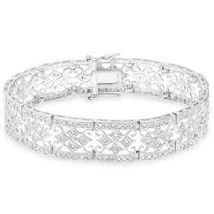 Finesque Sterling Silver 1ct TDW Diamond Vintage Bracelet (J-K, I2-I3)