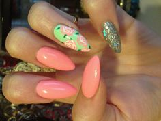 Love these colors. Not the pointy nails though. Nail art