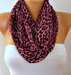 Pink & Black Leopard Print Chiffon Infinity Scarf,Clothing Giftö Circle Scarf Loop Scarf Gift for her,women accessories,birthday gift http://etsy.me/2BO2v4i #accessories #scarf #christmas #shawl #fatwomanscarf #pink #infinity #leopard