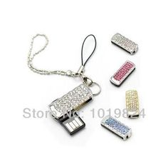 CRYSTAL NECKLACE Usb Flash Drive jewelry rectangle 2/4/8/16 USB 2.0 Flash Memory Stick Drive Thumb S147 #Affiliate