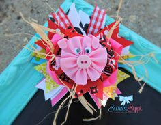 Love this hair bow!  Perfect for a little country girl or for a trip to the farm!  Spring Hair Bow, Cute Boutique Bow - Unique Hair Bow - Pig Hair Bow - Pig Hair Clip - Cow Hair Bow