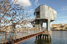 Berlin-based architecture office Raumlabor built an unconventionally designed public sauna in the Frihamnen port of the Swedish city Gothenburg. From the outside, the building has an. Romanesque Architecture, Cultural Architecture, Education Architecture, Classic Architecture, Residential Architecture, Landscape Architecture, Outdoor Sauna, Hotels, Exterior