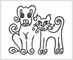 Dog and cat  Embroidery design  Design for от Polskyembroidery