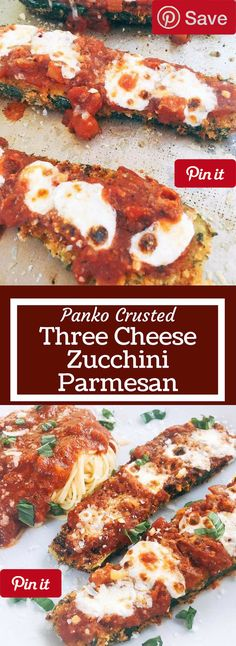 Three Cheese Zucchini Parmesan - Vegetarian zucchini parm uses three cheeses and a crunchy panko breadcrumb crust to make an amazing alternative to chicken parmesan. Great for weekend meals and finding new ways to use vegetables. | Panko Crusted Three Cheese Zucchini Parmesan