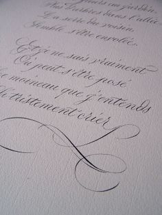 This piece is very simple and elegant. There is not a heavy amount of flourishing. However where there is flourishing it flows with the text and brings a balance to the over piece. The style used closely resembles copperplate.