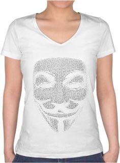 Anonymous - Bayan V Yaka Tişört Beyaz Kendin Tasarla - Bayan V Yaka Tişört