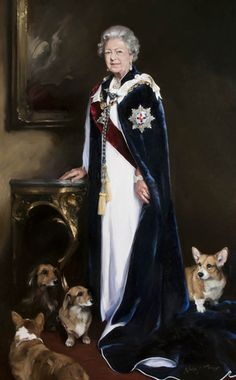 Queen Elizabeth II's  Portrait with Corgis & Dorgis