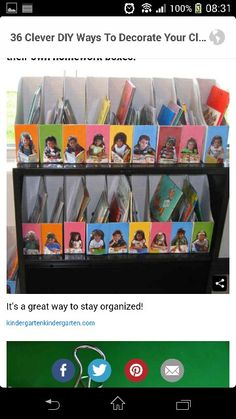 Cereal boxes with photos for organized classroom or documentation.