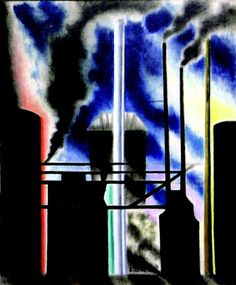 "Joseph Stella (Italian-born American, ""Smoke Stacks,"" 1935 ~ Oil on canvas, 36 x 30 inches Contemporary Modern Art, Cubism, Oil On Canvas, Art Projects, Painting, Abstract Artwork, Joseph Stella, Art, Abstract"