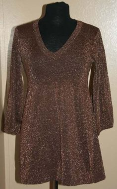 BITTEN Sarah Jessica Parker V neck Top Gold / Brown Blouse Size M