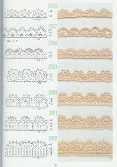 262 Patrons de crochet : toutes sortes de point + des bordures.  Pas de granny squares, mais des idées pour faire une couverture