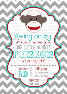 Sock monkey invitation boys 1st birthday by pixieperfectparties first birthday invitations with sock monkeys boy by katiedidesigns filmwisefo Image collections