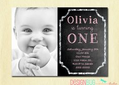 1st Birthday Girl Invitation  Custom Chalkboard by DesignBugStudio, $14.00