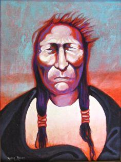 "'Cadmium Red Man' by Karen Roncari| $250 | 12""w x 16""h | Original Art | http://www.arttwo50.com/buy/art/cadmium-red-man"