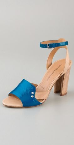 Two-tone high heel sandals. By Sigerson Morrison.