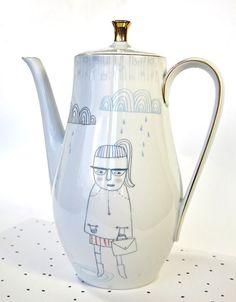Teapot / coffee pot  girl in the rain by kimslittlemonsters