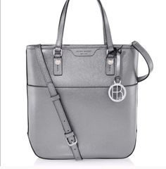 78c16dd478 Henri Bendel West 57th Metallic Crossbody Saffiano Leather Gray Silver Bag. Designer  ConsignmentSilver ...