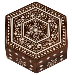 Bulk Wholesale Handmade Hexagon Shaped Wooden Trinket Box / Keepsake Box Designed with Intricate Floral Patterns in Acrylic Inlay Art – Decorative Jewelry Boxes – Dresser Accessories