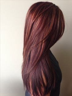 Dark red rich hair color with caramel highlights. Gorgeous.